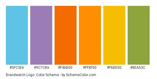 Brandwatch Logo - Color scheme palette thumbnail - #5FC3E6 #9C7CB6 #F46B00 #FF8F00 #F6BE00 #8EA53C