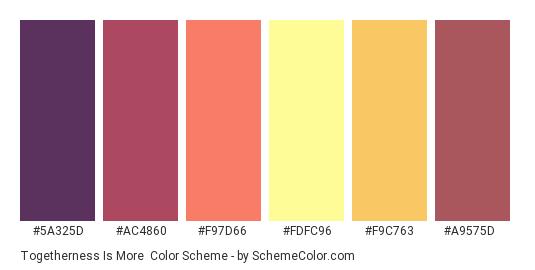 Togetherness is More - Color scheme palette thumbnail - #5a325d #ac4860 #f97d66 #fdfc96 #f9c763 #a9575d