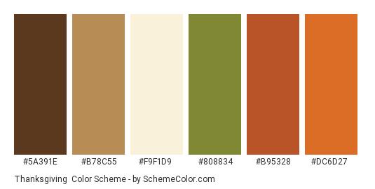 Thanksgiving - Color scheme palette thumbnail - #5a391e #b78c55 #f9f1d9 #808834 #b95328 #dc6d27