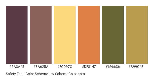 Safety First - Color scheme palette thumbnail - #5a3a45 #8a625a #fcd97c #df8147 #696636 #b99c4e