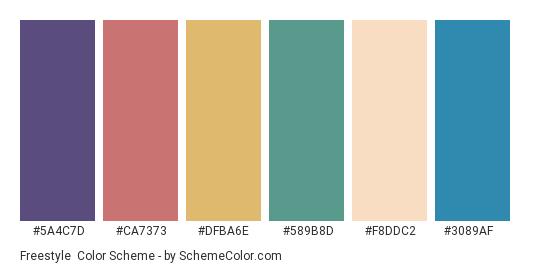 Freestyle - Color scheme palette thumbnail - #5a4c7d #ca7373 #dfba6e #589b8d #f8ddc2 #3089af