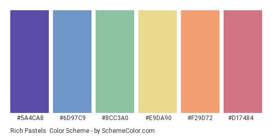 Rich Pastels - Color scheme palette thumbnail - #5a4ca8 #6d97c9 #8cc3a0 #e9da90 #f29d72 #d17484