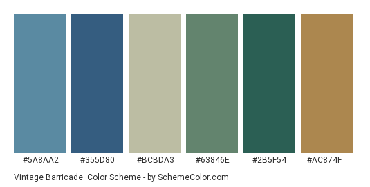 Vintage Barricade - Color scheme palette thumbnail - #5a8aa2 #355d80 #bcbda3 #63846e #2b5f54 #ac874f