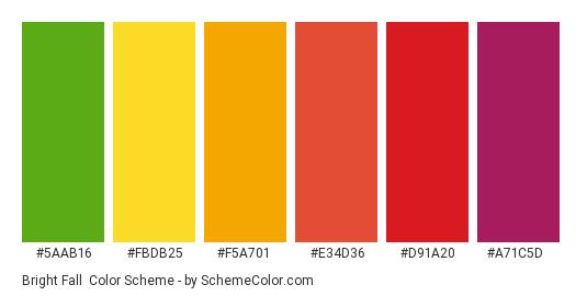 Bright Fall - Color scheme palette thumbnail - #5aab16 #fbdb25 #f5a701 #e34d36 #d91a20 #a71c5d