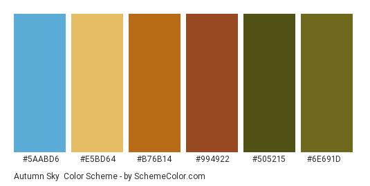 Autumn Sky - Color scheme palette thumbnail - #5aabd6 #e5bd64 #b76b14 #994922 #505215 #6e691d