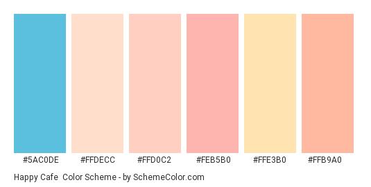 Happy Cafe - Color scheme palette thumbnail - #5ac0de #ffdecc #ffd0c2 #feb5b0 #ffe3b0 #ffb9a0