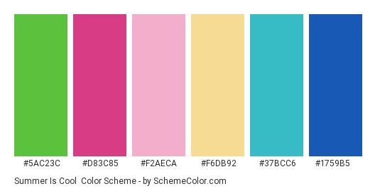 Summer is Cool - Color scheme palette thumbnail - #5ac23c #d83c85 #f2aeca #f6db92 #37bcc6 #1759b5