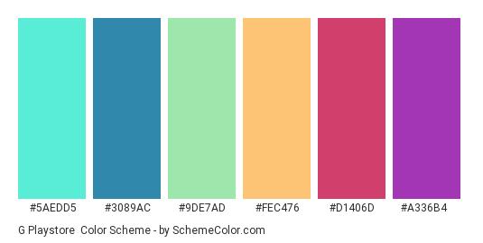 G Playstore - Color scheme palette thumbnail - #5aedd5 #3089ac #9de7ad #fec476 #d1406d #a336b4