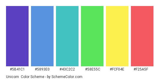 Unicorn - Color scheme palette thumbnail - #5b41c1 #5893e0 #43c2c2 #58e55c #fcf04e #f25a5f