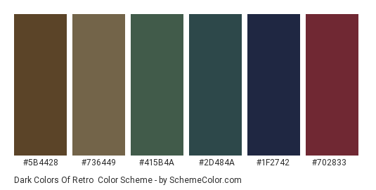 Dark Colors of Retro - Color scheme palette thumbnail - #5b4428 #736449 #415b4a #2d484a #1f2742 #702833