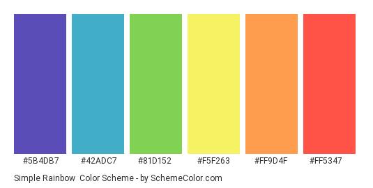 Simple Rainbow - Color scheme palette thumbnail - #5b4db7 #42adc7 #81d152 #f5f263 #ff9d4f #ff5347