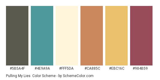 Pulling My Lies - Color scheme palette thumbnail - #5b5a4f #4e9a9a #fff5da #ca885c #ebc16c #984b59