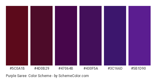 Purple Saree Color Scheme Palette Thumbnail 5c0a1b 4d0b29 47064b 430f5a