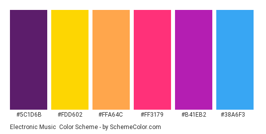 Electronic Music - Color scheme palette thumbnail - #5c1d6b #fdd602 #ffa64c #ff3179 #b41eb2 #38a6f3