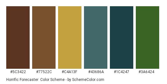 Horrific Forecaster - Color scheme palette thumbnail - #5c3422 #77522c #c4a13f #43686a #1c4247 #3a6424