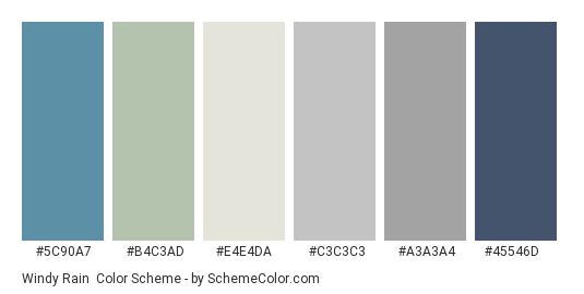 Windy Rain - Color scheme palette thumbnail - #5c90a7 #b4c3ad #e4e4da #c3c3c3 #a3a3a4 #45546d