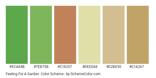 Feeling for a Garden - Color scheme palette thumbnail - #5ca84b #7eb75b #c18257 #dee0a8 #d2be90 #c1a267