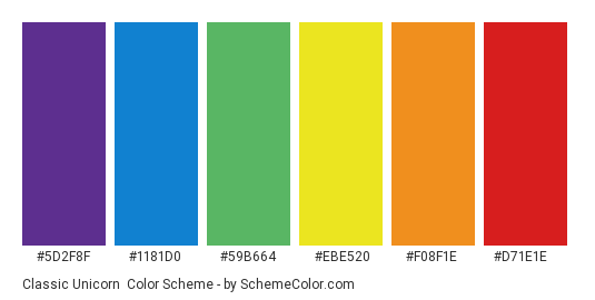 Classic Unicorn - Color scheme palette thumbnail - #5d2f8f #1181d0 #59b664 #ebe520 #f08f1e #d71e1e