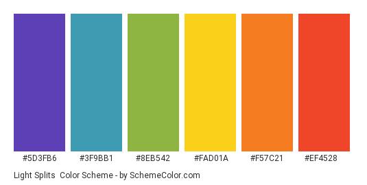 Light Splits - Color scheme palette thumbnail - #5d3fb6 #3f9bb1 #8eb542 #fad01a #f57c21 #ef4528