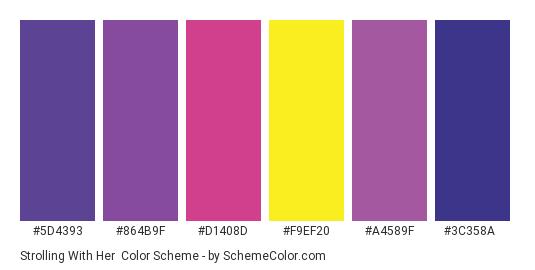 Strolling with Her - Color scheme palette thumbnail - #5d4393 #864b9f #d1408d #f9ef20 #a4589f #3c358a