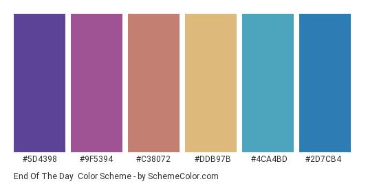 End of the Day - Color scheme palette thumbnail - #5d4398 #9f5394 #c38072 #ddb97b #4ca4bd #2d7cb4
