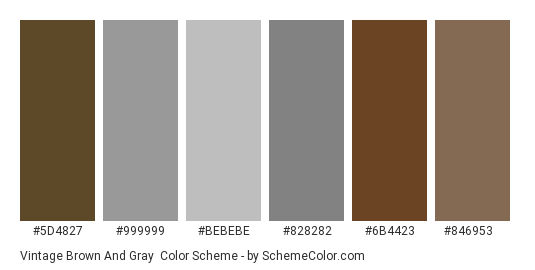 Vintage Brown and Gray - Color scheme palette thumbnail - #5d4827 #999999 #bebebe #828282 #6b4423 #846953