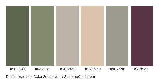 Dull Knowledge - Color scheme palette thumbnail - #5d664d #848b6f #bbb3a6 #d9c3ad #9d9a90 #573544