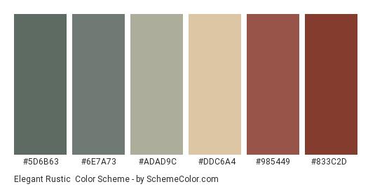 Elegant Rustic - Color scheme palette thumbnail - #5d6b63 #6e7a73 #adad9c #ddc6a4 #985449 #833c2d