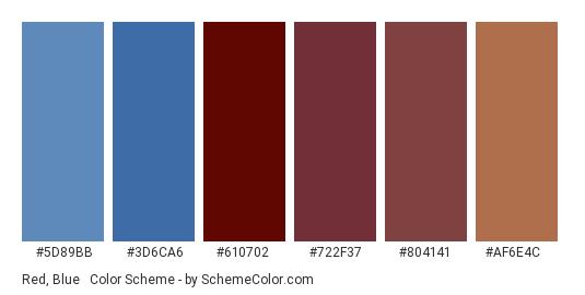 Red, Blue & Brown - Color scheme palette thumbnail - #5d89bb #3d6ca6 #610702 #722f37 #804141 #af6e4c