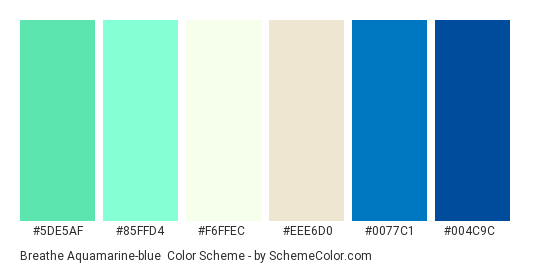 Breathe Aquamarine Blue Color Scheme Palette Thumbnail 5de5af 85ffd4 F6ffec