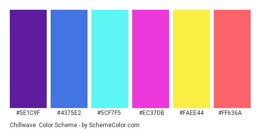 Chillwave - Color scheme palette thumbnail - #5e1c9f #4375e2 #5cf7f5 #ec37db #faee44 #ff636a