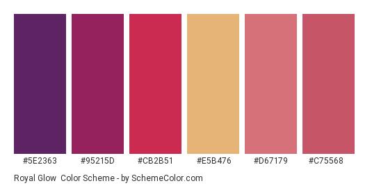 Royal Glow - Color scheme palette thumbnail - #5e2363 #95215d #cb2b51 #e5b476 #d67179 #c75568