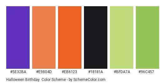 Halloween Birthday - Color scheme palette thumbnail - #5e32ba #e9804d #eb6123 #18181a #bfda7a #96c457