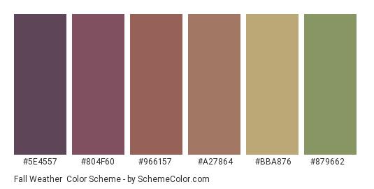 Fall Weather - Color scheme palette thumbnail - #5e4557 #804f60 #966157 #a27864 #bba876 #879662