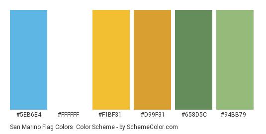 San Marino Flag Colors - Color scheme palette thumbnail - #5eb6e4 #ffffff #f1bf31 #d99f31 #658d5c #94bb79