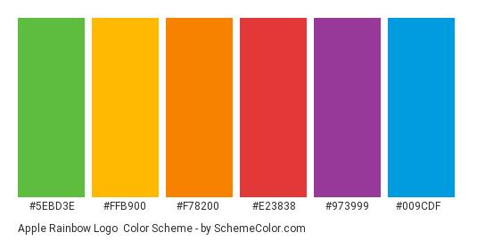 Apple Rainbow Logo - Color scheme palette thumbnail - #5ebd3e #ffb900 #f78200 #e23838 #973999 #009cdf