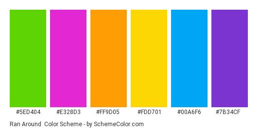 Ran Around - Color scheme palette thumbnail - #5ed404 #e328d3 #ff9d05 #fdd701 #00a6f6 #7b34cf