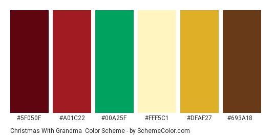 Christmas With Grandma - Color scheme palette thumbnail - #5f050f #a01c22 #00a25f #fff5c1 #dfaf27 #693a18