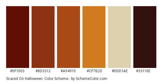 Scared on Halloween - Color scheme palette thumbnail - #5f1003 #8d3312 #a94915 #cf7b20 #ddd1ae #33110e