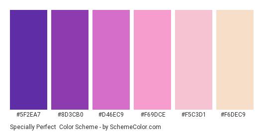 Specially Perfect - Color scheme palette thumbnail - #5f2ea7 #8d3cb0 #d46ec9 #f69dce #f5c3d1 #f6dec9