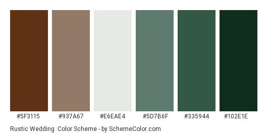 Rustic Wedding - Color scheme palette thumbnail - #5f3115 #937a67 #e6eae4 #5d7b6f #335944 #102e1e