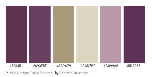 Purple Vintage - Color scheme palette thumbnail - #5f3451 #693e5e #ab9a79 #dad7be #b899a8 #5d3256