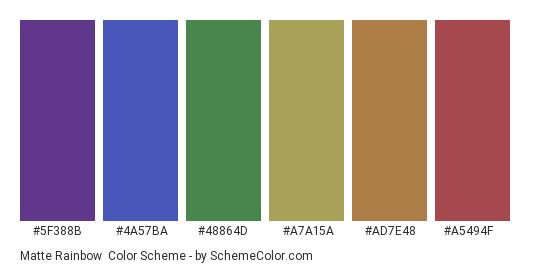 Matte Rainbow - Color scheme palette thumbnail - #5f388b #4a57ba #48864d #a7a15a #ad7e48 #a5494f