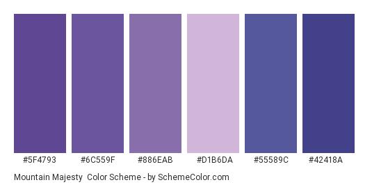 Mountain Majesty - Color scheme palette thumbnail - #5f4793 #6c559f #886eab #D1B6DA #55589c #42418a