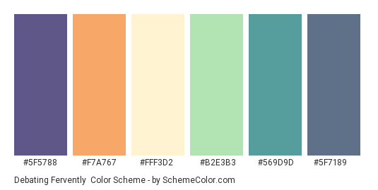 Debating Fervently - Color scheme palette thumbnail - #5f5788 #f7a767 #fff3d2 #b2e3b3 #569d9d #5f7189