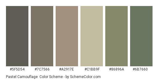 Pastel Camouflage - Color scheme palette thumbnail - #5f5d54 #7c7566 #a2917e #c1bb9f #86896a #6b7660