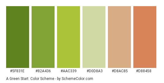 A Green Start - Color scheme palette thumbnail - #5f831e #82a436 #aac339 #d0d8a3 #d8ac85 #d88458