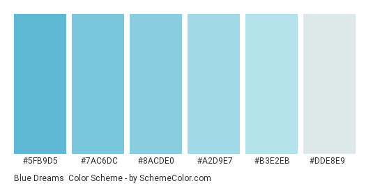 Blue Dreams - Color scheme palette thumbnail - #5fb9d5 #7ac6dc #8acde0 #a2d9e7 #b3e2eb #dde8e9