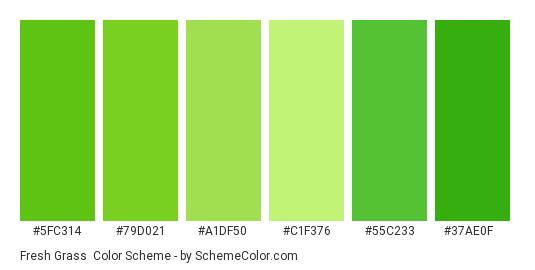 Fresh Grass - Color scheme palette thumbnail - #5fc314 #79d021 #a1df50 #c1f376 #55c233 #37ae0f