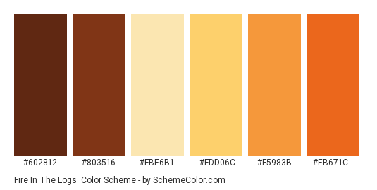Fire in the Logs - Color scheme palette thumbnail - #602812 #803516 #fbe6b1 #fdd06c #f5983b #eb671c